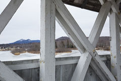 Truss beams of historic, white covered bridge, Groveton, New Ham Royalty Free Stock Images