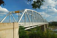 Truss bridge. Old style overhead truss iron river bridge stock photography