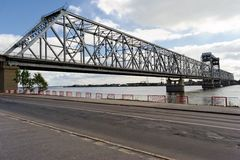 Truss bridge in Arkhangelsk Royalty Free Stock Photography