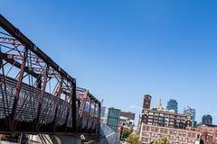truss bridge over Railroad tracks Stock Photos
