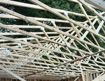 Truss Construction. Roofing Trusses in home construction.  Ceiling and roof truss Royalty Free Stock Images