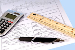 Truss diagram. A wood truss diagram with calculator,ruler and pen Royalty Free Stock Image