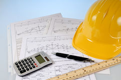 Truss diagram. A wood truss diagram with calculator,ruler and pen Stock Photos