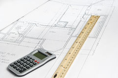 Truss diagram. A wood truss diagram with calculator,and ruler Royalty Free Stock Image