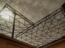 Truss geometry sky architecture. Truss geometry architecture support modern beam construction Stock Image