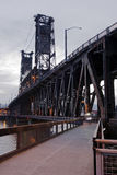 Truss lift transportation bridge with towers and walkway through Stock Photography