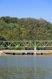 Truss structure railroad bridge Stock Photography