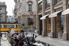 Trussardi shoppar i centret av Milan Symbol och begrepp av lyx, shopping, elegans och gjort i Italien Royaltyfria Bilder