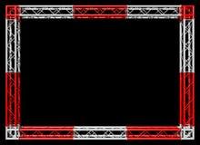 Trusses budowy czerwieni i białej dekoracyjna granica odizolowywająca na czerni fotografia stock