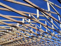 Trusses during construction on a house Royalty Free Stock Photos