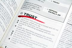 Trust. Word Trust dictionary definition marked by red Royalty Free Stock Photography