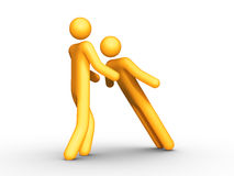 Trust. 3d Rendered stick figure trusting teammates Royalty Free Stock Image