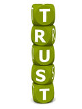 Trust. Word built with stack of block dice letters, on white background, dice in green, font in white royalty free illustration