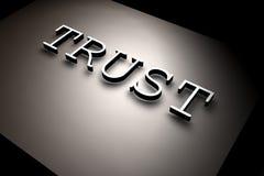 Trust. 3D rendered TRUST text,3D art stock illustration