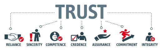 Free Trust Building Concept. Banner With Keywords And Illustra Stock Images - 109029074
