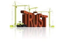 Trust building rely on friends be faithful. Trust building in big red 3D letters be confident and rely on your friends and be faithful and belief Royalty Free Stock Image