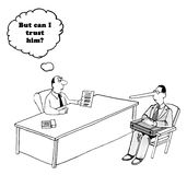 Trust. Business cartoon about a businessman wondering if he can trust the man with the long nose stock illustration