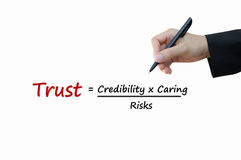 Trust of business concept. Trust come from credibility with caring divided by risks of business concept Stock Photography