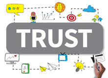 TRUST. Businessman work on white broad, top view Royalty Free Stock Photography