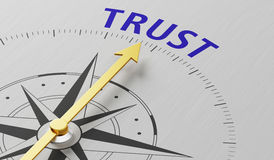 Trust. Compass needle pointing to the word Trust Royalty Free Stock Images