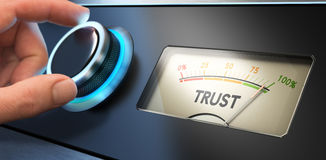 Trust Concept in Business. Hand turning a knob up to the maximum, Concept image for illustration of trust in business