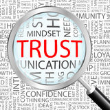 TRUST. Concept illustration. Graphic tag collection. Wordcloud collage Stock Images