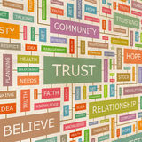 TRUST. Concept related words in tag cloud. Conceptual info-text graphic. Word collage royalty free illustration