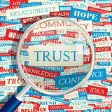 TRUST. Concept related words in tag cloud. Conceptual info-text graphic. Word collage Royalty Free Stock Photography
