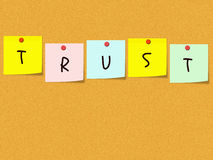 Trust on Cork Bulletin Board Stock Photos