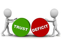 Trust deficit. Words rolled by two little 3d men on white background Stock Photo