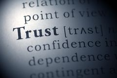 Trust. Dictionary definition of the word Trust Stock Photos