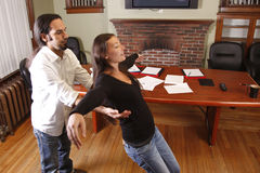 Trust fall. Co-workers, employees practice a trust fall stock photos