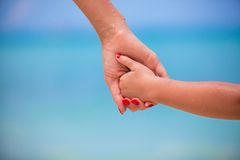 Trust family hands of child girl and mother on Stock Photography