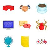 Trust fund icons set, cartoon style Royalty Free Stock Image