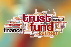 Trust fund word cloud with abstract background Royalty Free Stock Photography