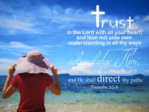 Trust in God with background ocean view and a lady look up to the sky design for Christianity. Read inspirational Bible verses and quotes that will encourage stock photos