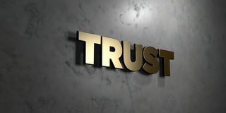 Trust - Gold sign mounted on glossy marble wall  - 3D rendered royalty free stock illustration. This image can be used for an online website banner ad or a Stock Image