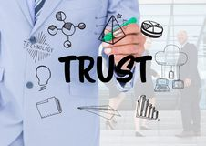 Trust graphic with business people background. Digital composite of Trust graphic with business people background Stock Image