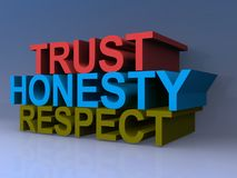 Trust honesty respect. In 3D block letters on purple Royalty Free Stock Images