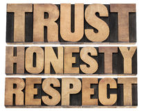 Trust, honesty, respect words. Collage of isolated text in vintage letterpress wood type printing blocks royalty free stock photo