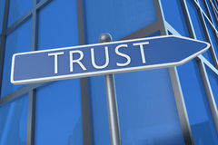 Trust. Illustration with street sign in front of office building Stock Images
