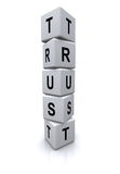 Trust letter cubes. White blocks or cubes with letters spelling the word, Trust Royalty Free Stock Photography