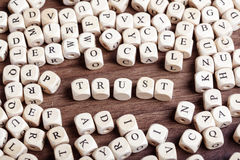Trust, letter dices word Stock Photography