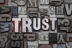 Trust letterpress word cloud. Stock Images