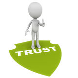 Trust. Little 3d man standing on shield painted on ground with word trust in green, white background Stock Photos