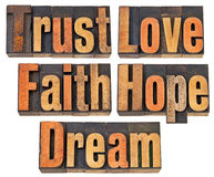 Trust, love, faith, hope and dream Stock Photo