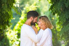 Trust in love. Intimate moments for happy lovers. Romantic portrait of a sensual couple in love. Sensual couple getting royalty free stock image