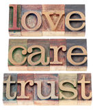 Trust, love, respect in wood type. Trust, love, respect words  - relationship concept  - isolated text in letterpress wood type Royalty Free Stock Image