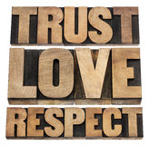 Trust, love and respect. Word abstract - isolated text in vintage letterpress wood type stock photo