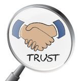 Trust Magnifier Means Believe In And Belief Stock Image
